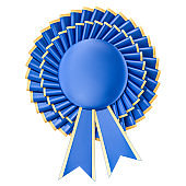 Blue winning award, prize, medal or badge with ribbons. 3D rendering isolated on white background