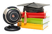 Online education concept, books with graduation cap with webcam, 3D rendering isolated on white background