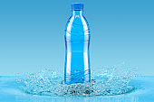 Water bottle with splash, 3D rendering