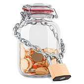 Golden coins inside glass jar with chain and padlock. Financial insurance concept. 3D rendering isolated on white background