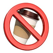 Prohibition ban symbol with disposable plastic cup, 3D rendering isolated on white background