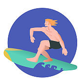 The surfer. Surfboard sportsman in flat with gradient design. It can be used for flyer, banner to sporting events, packing for sports goods. Vector illustration.