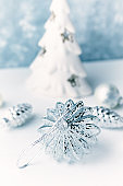 Vintage Christmas ornament. White - Silver Christmas balls.  Symbolic image. Christmas background. White - blue background. Close up. Copy space.