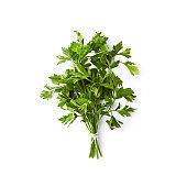 Fresh organic parsley  on white background; flat lay