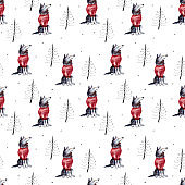 Wolf and firtrees, winter hand drawn background, watercolor seamless pattern.