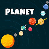 Planet Orbiting Design Black Background Vector Image