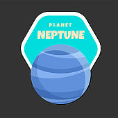 Planet Neptune Design Hexagon Frame Background Vector Image