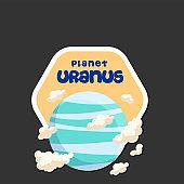 Planet Uranus Design Hexagon Frame Background Vector Image