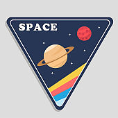 Space Saturn Mars Triangle Frame Background Vector Image