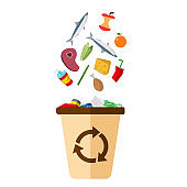 Garbage Recycle Bin White Background Vector Image