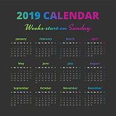 Simple 2019 year calendar, weeks start on Sunday