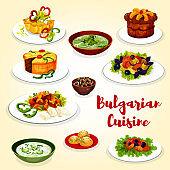 Bulgarian cuisine icon of dinner dish with dessert