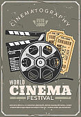 Cinema festival retro poster, film and tickets
