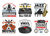 Musical instruments, jazz music festival icons