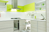 Modern kitchen interior with open cabinets