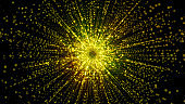 3D rendering of particles gathering in the center of virtual space. A bright explosion of a star made of particles
