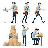 Postman delivering mail icon for postal service
