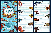 Seafood restaurant menu template with fish sketch