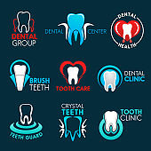 Dental clinic or dentist office symbols with tooth