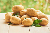 Potatoes composition in garden