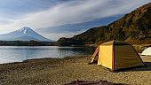 camping at Shoji lake with mt. Fuji