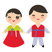 Koreans Kawaii boy and girl in national costume Hanbok Joseon-ot. Cartoon children in traditional South Korea dress isolated on white background. Vector