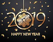 2019 number Happy New Year celebration luxury black background with christmas ball with snowflake, glitter confetti decoration. Vector winter holiday greeting card design template celebration party