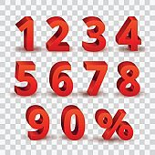 Set of bright red 3D style font numbers sign. 3D number  symbol with percent discount sale promotion design isolated in transparent background.