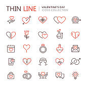 Collection of love thin line icons