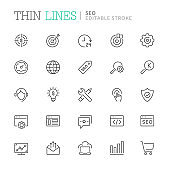 Collection of seo related line icons. Editable stroke