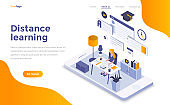 Flat color Modern Isometric Concept Illustration - Distance Learning