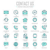 Collection of contact us thin line icons
