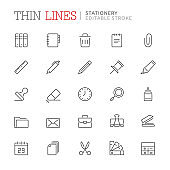 Collection of stationery related line icons. Editable stroke