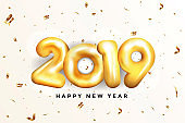 Holiday New year card  2019 - Golden balloons
