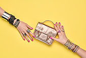 Fashion.Female hand, Trendy Jewelry.Shopping Sales