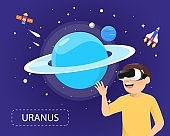 Man wearing virtual reality glasses looking uranus in universe concept