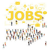 Jobs icon and arrow of people symbol for business