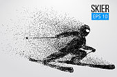 Silhouette of skier jumping isolated. Vector illustration