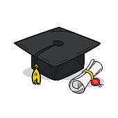 Graduation cap illustration on a white background