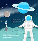 Astronaut with spaceship surveying around uranus and mercury in universe  illustration.vector design