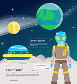 Alien with ufo traveling in universe including venus and earth illustration.vector design