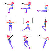 Set of woman doing different exercises with gymnastic rings TRX