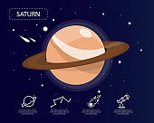 The saturn infographic in universe concept.