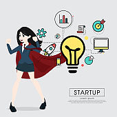 Superhero business woman cartoon for start up concept.