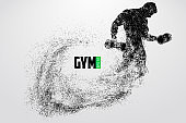 Silhouette of a bodybuilder. gym logo vector