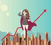 Woman superhero flies above the city with arrow