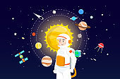 Astronaut with solar system illustration design