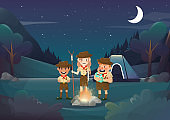 Three scouts camping for activity in the night illustration.vector