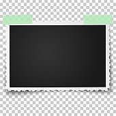 Realistic vector photo frame with retro figured edges on two pieces of sticky tape placed horizontally. Template photo design.