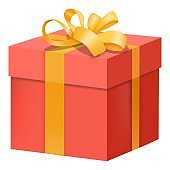 Red gift box with yellow ribbon icon, flat style
